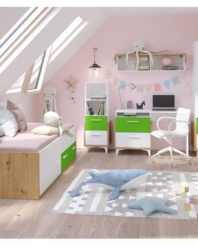 Dětský pokoj HEY 1, dub artisan/bílá/zelená, 5 let záruka
