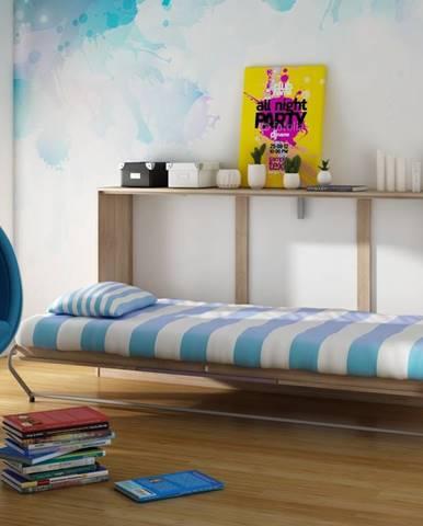 ROGER, multifunkční postel, dub sonoma/fialová