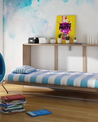 ROGER, multifunkční postel, dub sonoma/modrá
