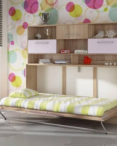 ROGER, multifunkční postel s nastavbou, dub sonoma/levandulová/fialová