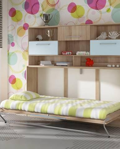 ROGER, multifunkční postel s nastavbou, dub sonoma/nebeská/modrá