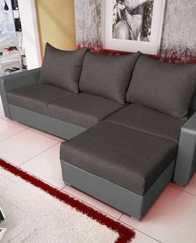Rohová sedačka MALAGA BIS 11, grafitová látka/šedá ekokůže