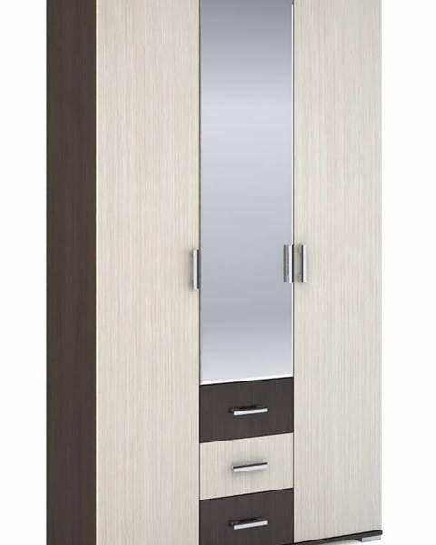 Smartshop Šatní skříň 3-dveřová ROCHEL 58 cm belfort/wenge (ROCHEL SK813-D2 SKŘÍŇ 3D3S+ZRC.58 dub belfort)