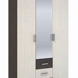 Šatní skříň 3-dveřová ROCHEL 58 cm belfort/wenge (ROCHEL SK813-D2 SKŘÍŇ 3D3S+ZRC.58 dub belfort)