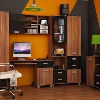 Studentský pokoj SOLO 2, švestka wallis/černý lesk