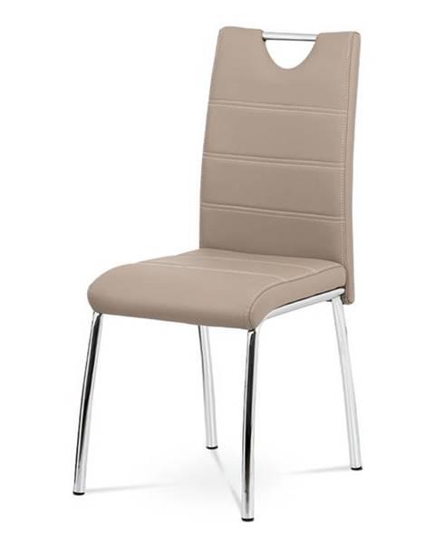 Smartshop Jídelní židle - cappuccino ekokůže, kovová chromovaná podnož AC-9920 CAP
