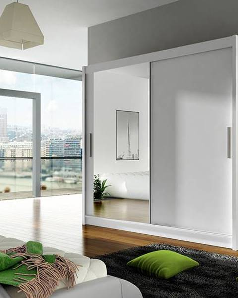 Smartshop Šatní skříň BEGA VI, bílý mat/zrcadlo