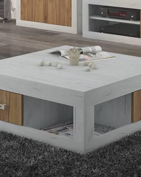 MORAVIA FLAT VERIN/02, konferenční stolek, craft bílý/craft zlatý