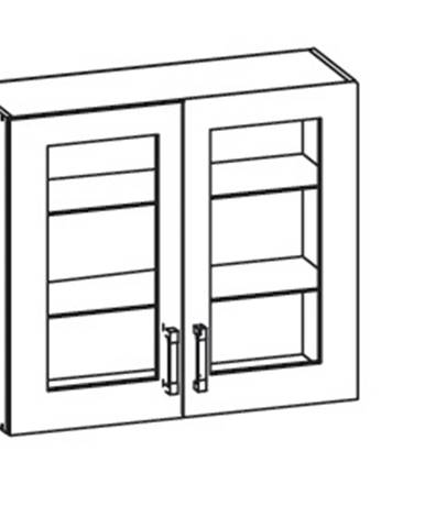EDAN horní skříňka G80/72 vitrína, korpus šedá grenola, dvířka béžová písková