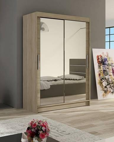 Šatní skříň MIAMII VII, sonoma/zrcadlo