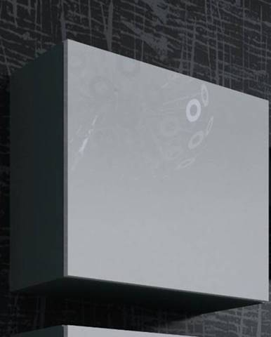Vitrína čtvercová VIGO, šedá/bílý lesk