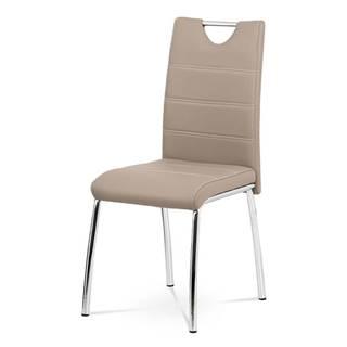 Jídelní židle - cappuccino ekokůže, kovová chromovaná podnož AC-9920 CAP