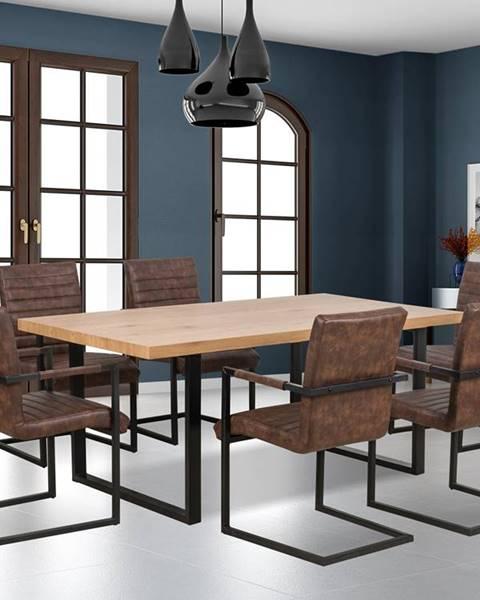 Smartshop Jídelní stůl TORRES, dub zlatý/černá