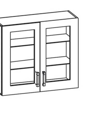 EDAN horní skříňka G80/72 vitrína, korpus wenge, dvířka béžová písková
