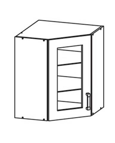 EDAN horní skříňka GNWU vitrína - rohová, korpus bílá alpská, dvířka béžová písková