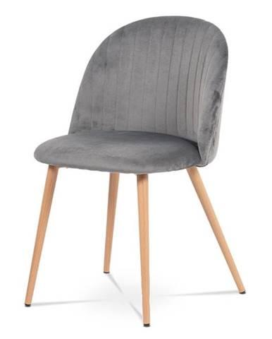 Jídelní židle CT-381 GREY4, šedá látka/kov dekor dub