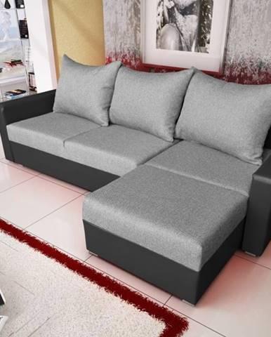 Rohová sedačka MALAGA BIS 10, antracitová látka/grafitová ekokůže