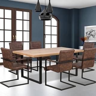 Jídelní stůl TORRES, dub zlatý/černá
