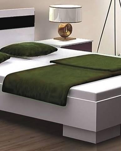 DUBAJ, postel 160x200 cm, bílá/černé sklo
