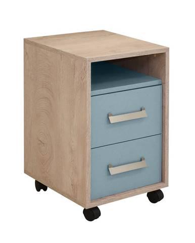 KINDER Noční stolek 2F, dub/modrá