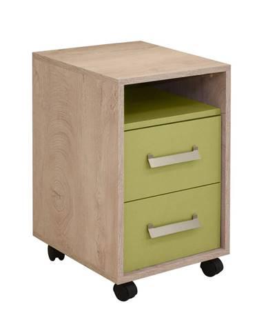 KINDER Noční stolek 2F, dub/zelená