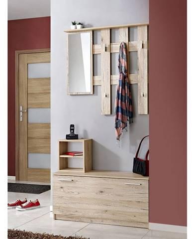 Předsíňová stěna RENO (věšák, botník, zrcadlo), dub sanremo