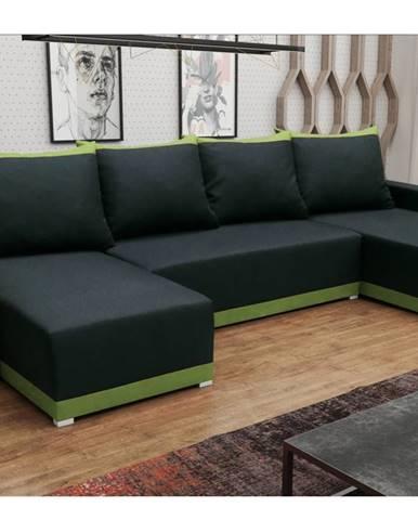 Rohová sedačka BRAGA U, černá látka/zelená látka