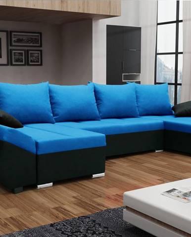 Rohová sedačka KORFU U, modrá látka/černá látka