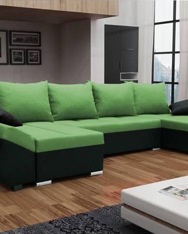 Rohová sedačka KORFU U, zelená látka/černá látka