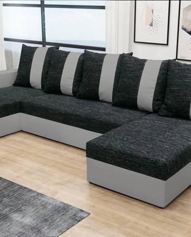 Rohová sedačka PRAGA U, černá látka/šedá ekokůže