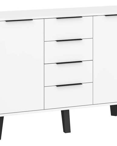 Sven 02 - Komoda 2D4S, bílá/bílý lesk