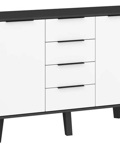 Sven 02 - Komoda 2D4S, černá/bílý lesk