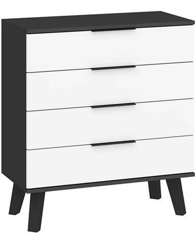 Sven 04 - Komoda 4S, černá/bílý lesk