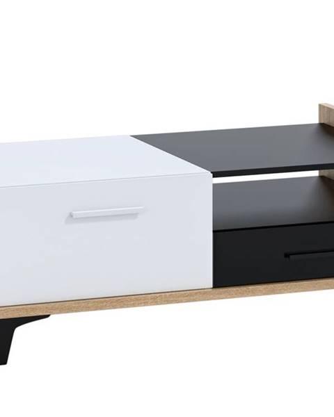 MORAVIA FLAT Box 03 – Konferenční stolek 2D2S, dub sonoma/bílá/černá