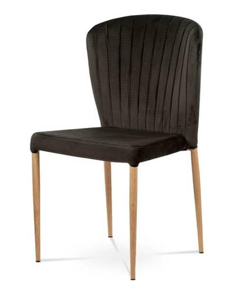 Smartshop Jídelní židle - šedá sametová látka, kovová podnož, 3D dekor dub CT-614 GREY4