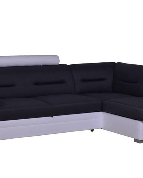 Smartshop Rohová sedačka TOLEDO se záhlavníkem, pravá, látka šedá/bílá ekokůže