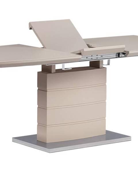 Smartshop Rozkládací jídelní stůl 140+40x80x76 cm, barva cappucino, vysoký lesk, bílé sklo / broušený nerez HT