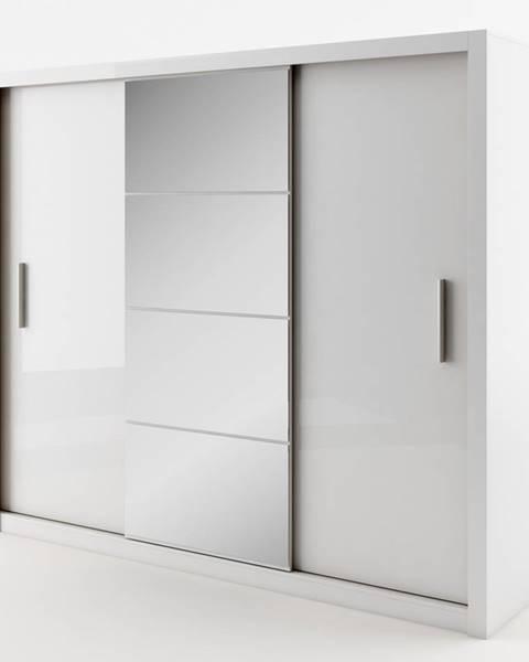 Smartshop Šatní skříň IDEA 250 cm bílá se zrcadlem