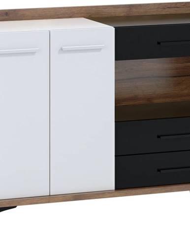 Box 02 - Komoda 2D3S, craft tobaco/bílá/černá