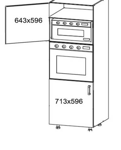 HAMPER vysoká skříň DPS60/207, korpus šedá grenola, dvířka dub lancelot
