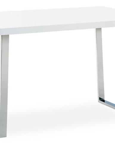 Jídelní stůl 120x75 cm, MDF deska, bílý vysoký lesk, chromovaná podnož AT-2077 WT