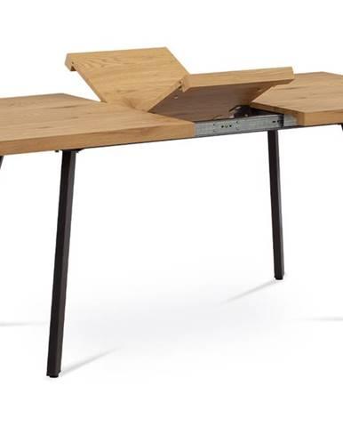 Jídelní stůl 140+40x85x76 cm, MDF deska, 3D dekor dub, kovové nohy, antracitový matný lak AT-1120 OA