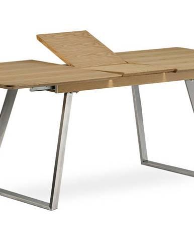 Jídelní stůl rozkládací - 160+40x90 cm, MDF + dýha dub, kovová podnož, broušený nerez HT-806 OAK