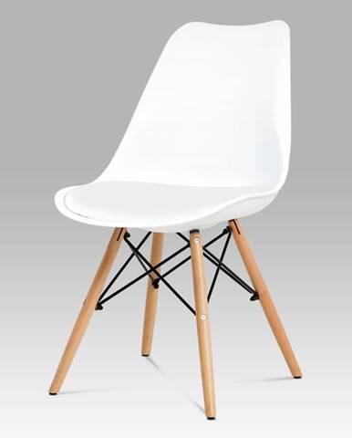 Jídelní židle CT-741 WT, bílý plast / bílá koženka / natural