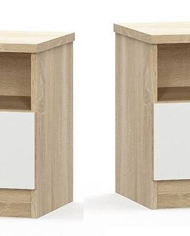 Noční stolek MARKOS - 2 ks, dub sonoma/bílá