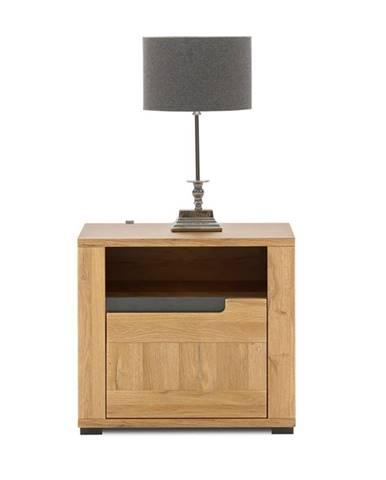 Noční stolek YORK P, dub granson/grafit