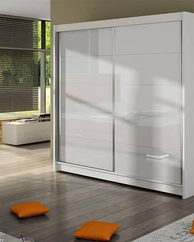 Šatní skříň FALCO I, bílý mat/bílé sklo