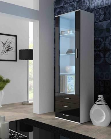 SOHO, vitrína vysoká S-1, bílý mat/černý lesk