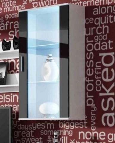 SOHO, závěsná vitrína S-2, bílý mat/černý lesk