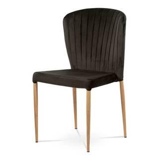 Jídelní židle - šedá sametová látka, kovová podnož, 3D dekor dub CT-614 GREY4
